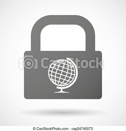 Lock icon with a world globe - csp24745073