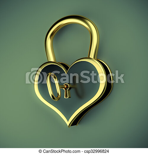 Lock in the form of a heart with key - csp32996824