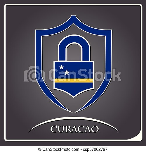 lock logo made from the flag of Curacao - csp57062797