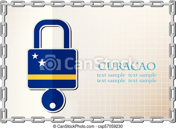 lock logo made from the flag of Curacao - csp57059230