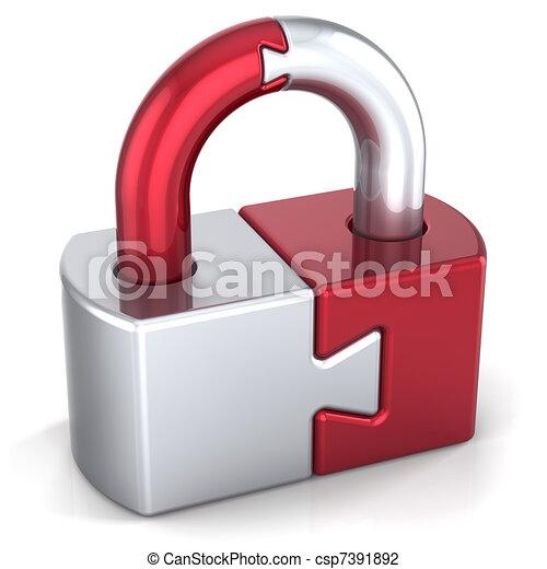 Lock padlock security safeguard - csp7391892
