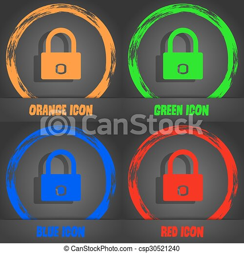 Lock sign icon. Locker symbol. Fashionable modern style. In the orange, green, blue, red design. Vector - csp30521240