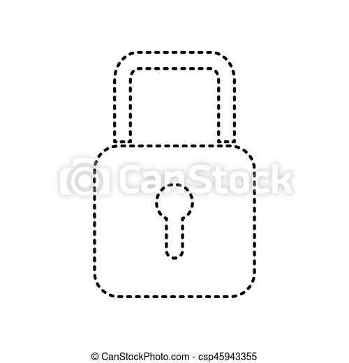 Lock sign illustration. Vector. Black dashed icon on white background. Isolated. - csp45943355