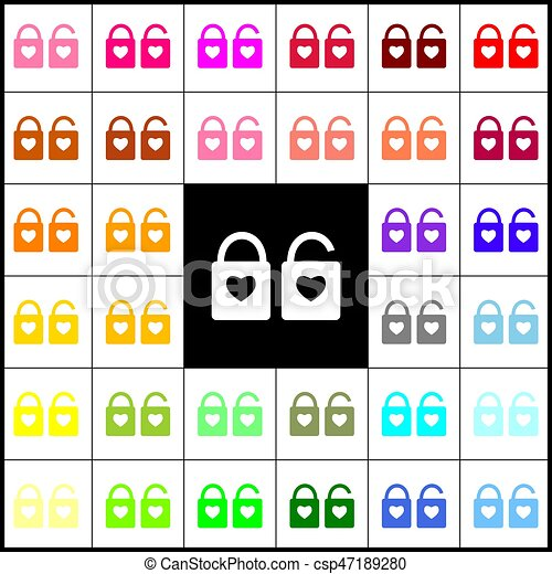lock sign with heart shape. A simple silhouette of the lock. Shape of a heart. Vector. Felt-pen 33 colorful icons at white and black backgrounds. Colorfull. - csp47189280
