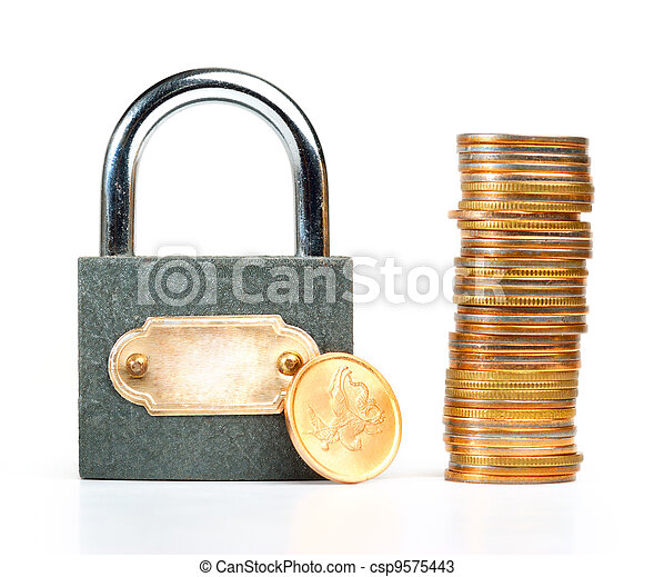 locked coins, isolated on white - csp9575443