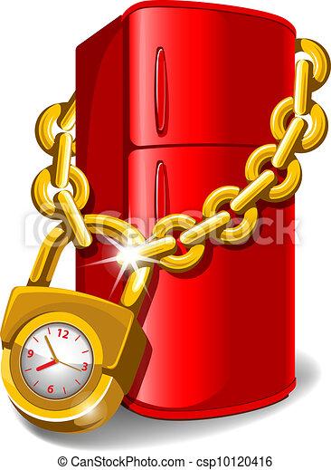 Locked Fridge Refrigerator Locked With Chain Diet