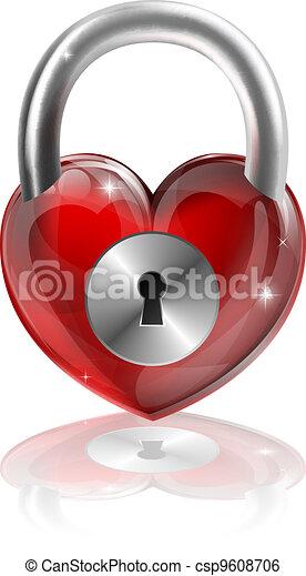 Locked heart concept - csp9608706
