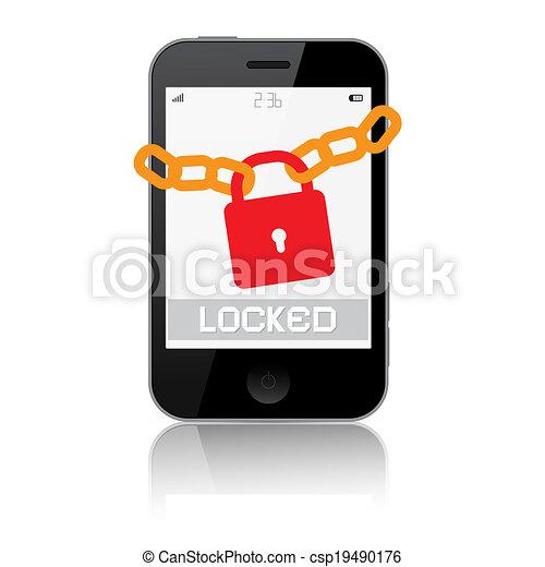 Locked Smartphone Vector Illustration Isolated on White Background - csp19490176