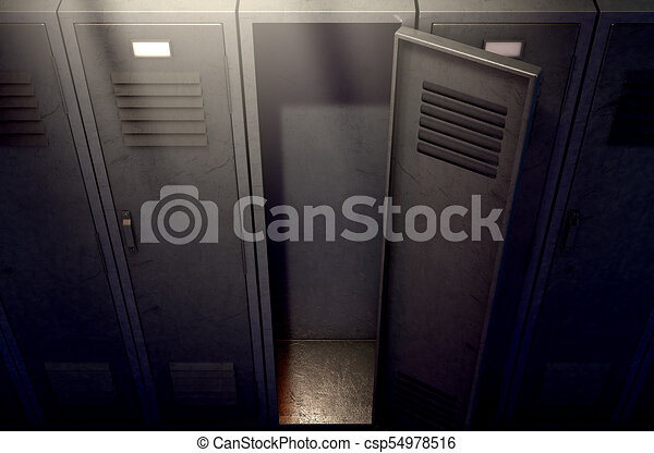 Locker Row And Open Door
