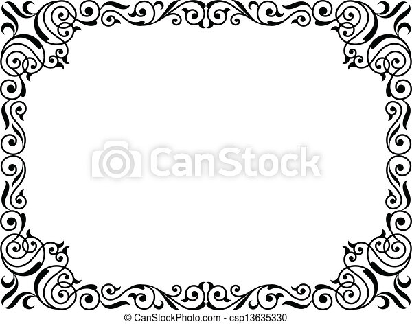Lockig Rahmen Schwarz Kalligraphie Barock Kalligraphie Lockig