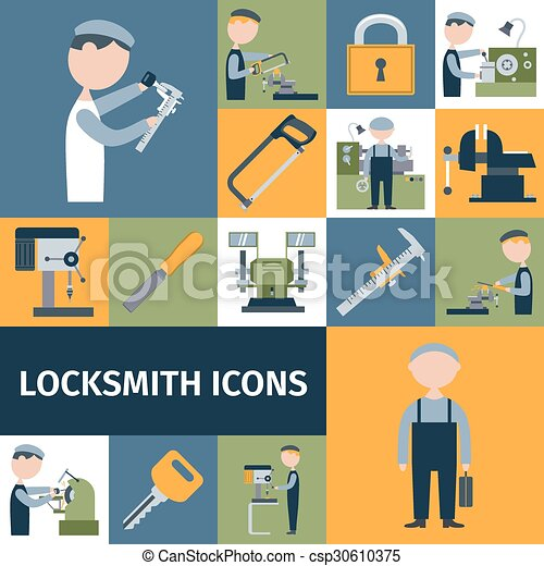 Locksmith Icons Set - csp30610375