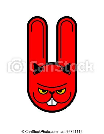 loco, enojado, ilustración, rabbit., vector, hare., animal., enojado, bunny., diablo - csp76321116