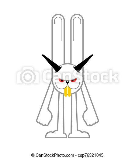 loco, enojado, ilustración, rabbit., vector, hare., animal., enojado, bunny., diablo - csp76321045