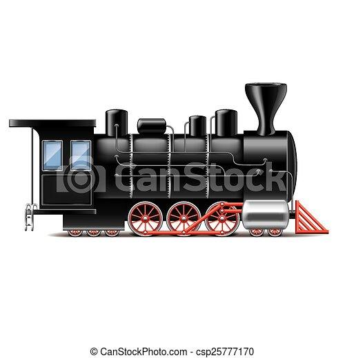 Locomotive isolated on white vector - csp25777170