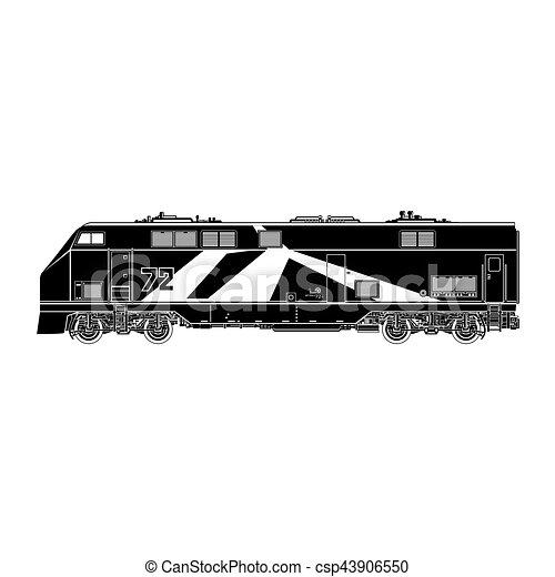 Locomotive Silhouette on White Background - csp43906550
