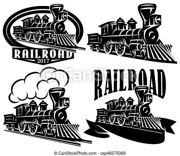 locomotives., stil, satz, weinlese, etiketten, muster, thema, vektor, retro, logo, eisenbahn, embleme, oder, abzeichen - csp46575069
