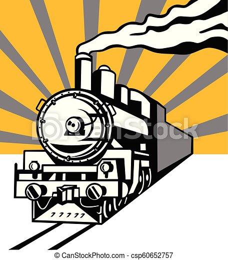 Tren de vapor Locomotive Sunburst retro - csp60652757