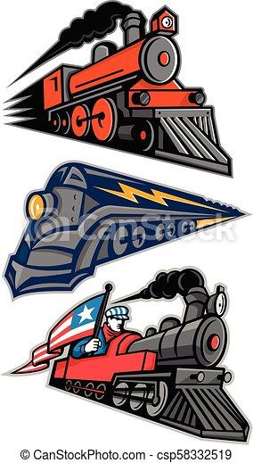 Una colección de mascotas de locomotoras de vapor - csp58332519