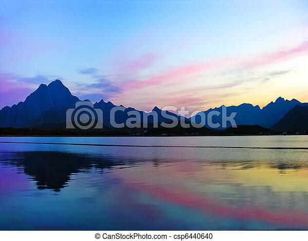 Lofoten Norway sunset landscape - csp6440640