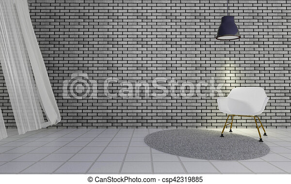 Loft And Simple Living Room With Chair Wall Background 3d Rendering