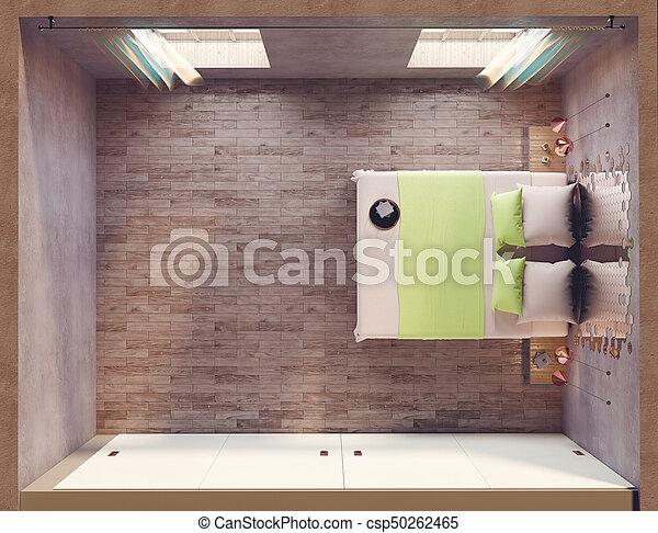 Loft bedroom topview - csp50262465