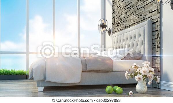 Four views of modern interior loft design u stockfoto virtua