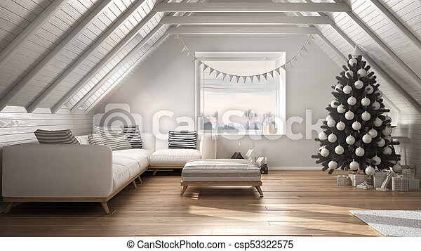 Loft Living Room With Christmas Tree And Presents White