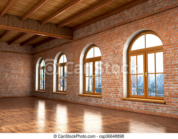 Loft Studio Interior In Old House Big Windows Brick Red Wall3d Illustration