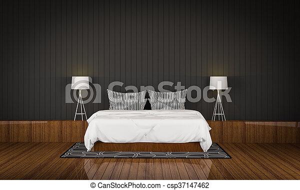 Loft style bedroom 3d rendering - csp37147462