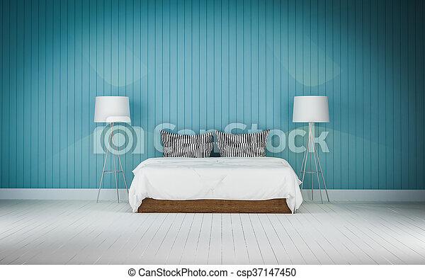 Loft style bedroom 3d rendering - csp37147450