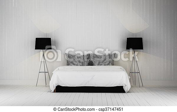 Loft style bedroom 3d rendering - csp37147451