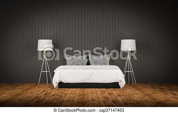 Loft style bedroom 3d rendering - csp37147453
