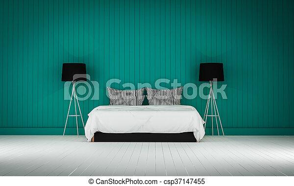 Loft style bedroom 3d rendering - csp37147455