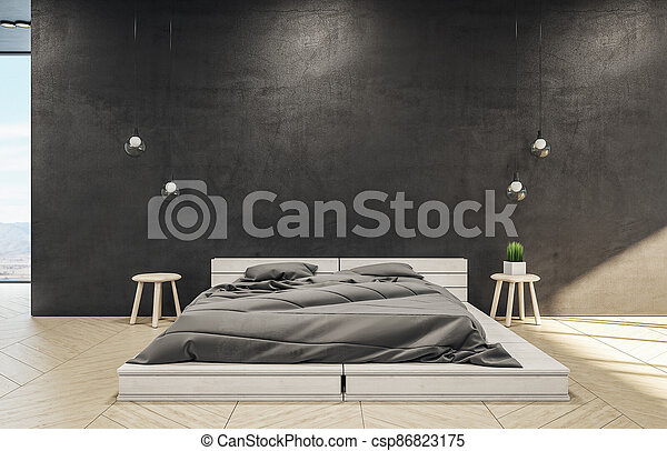 Loft style bedroom interior with bed - csp86823175