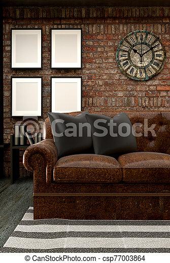Loft Style Interior Design. 3D Rendering - csp77003864