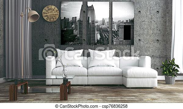 Loft Style Interior Design. 3D Rendering - csp76836258