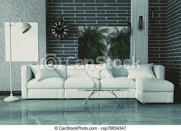 Loft Style Interior Design. 3D Rendering - csp76834347