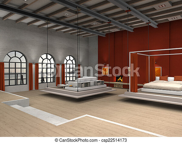 Loft with moveable living room and bedroom area - csp22514173