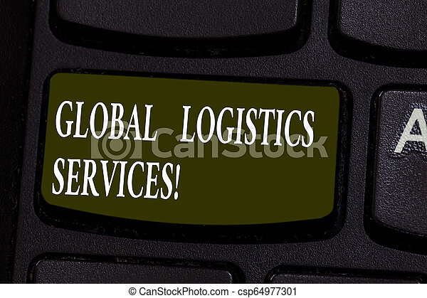 La escritura manual conceptual muestra servicios de logística global. La foto de negocios muestra componentes críticos de la llave de la cadena de suministro para crear una idea de mensaje informático. - csp64977301