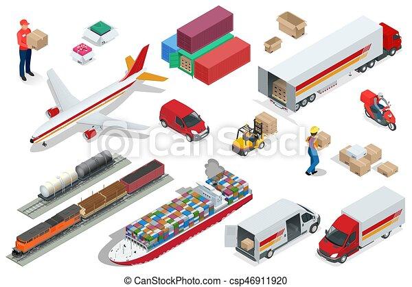 logística, conjunto, elements., números, envío, llevar, carga, isométrico, iconos, transporte, carril, vehículos, diferente, marítimo, entrega, diseñado, transporte por carretera, vehículos, aire, grande, distribución, transporte - csp46911920