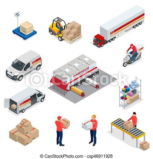 logística, entrega, isométrico, conjunto, transporte, elements., iconos, vehículos, vehículos, diferente, grande, diseñado, llevar, distribución, números - csp46911928