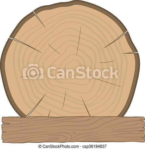 log and wooden board timber label - csp36194837
