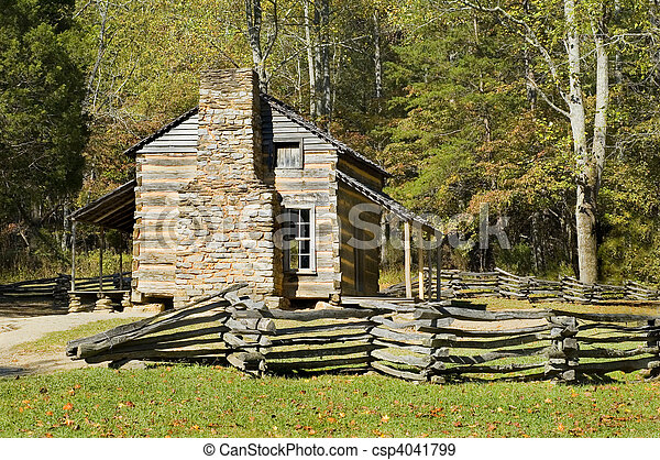 log cabin, cades cove, great smoky mountains national park - csp4041799
