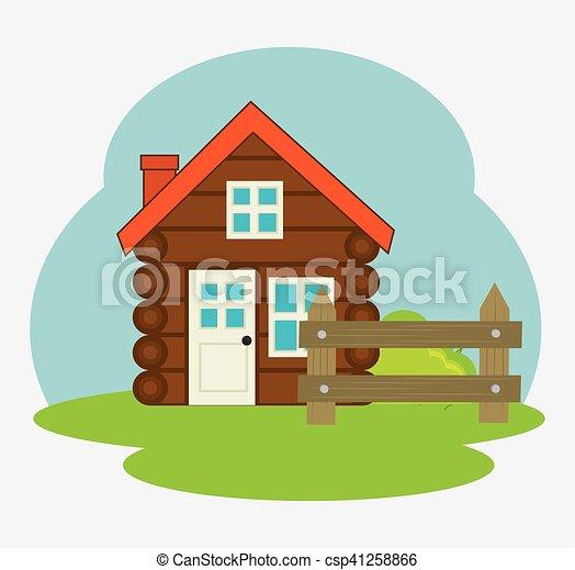 log cabin camping icon - csp41258866