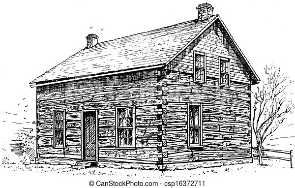 Clipart Of Log Cabin Pen And Ink Sketch Of A Typical Settlers - Cabin clip art free
