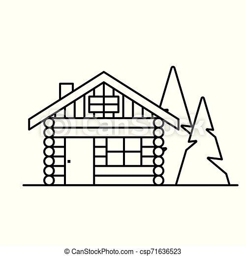 log cabin, cottage icon- vector illustration - csp71636523