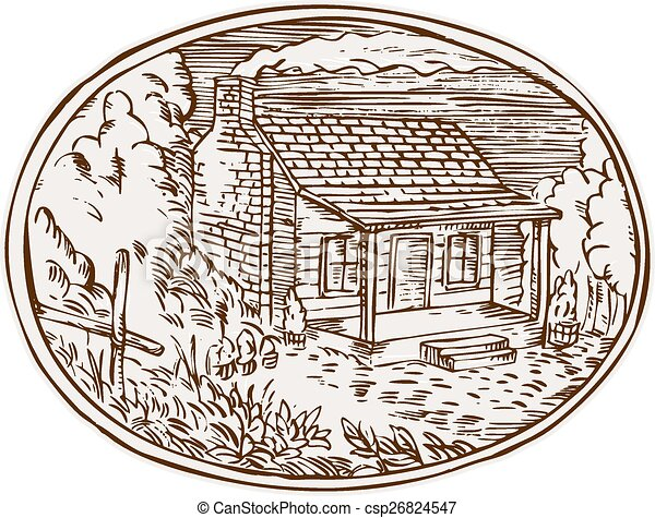 Log Cabin Farm House Oval Etching - csp26824547