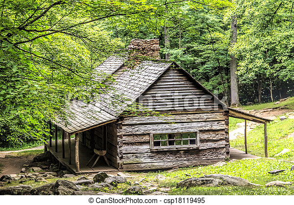 Log Cabin in the Woods - csp18119495