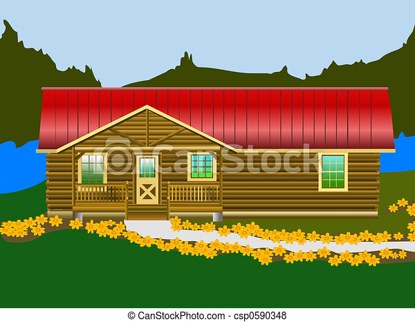 Log Cabin Near The Lake Ready And Waiting For Vacation Fun Stock