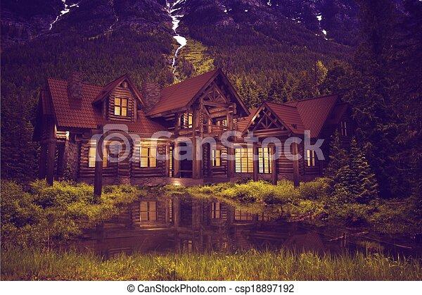 Log Home on the Lake - csp18897192